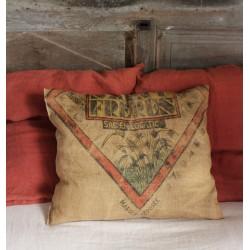 Coussin Toile de Jute Saint Frères Epis de blé jaune rouge vert noir
