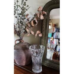 Grand Vase Verre transparent ciselé épais évasé