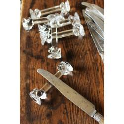Lot 6 Porte Couteaux Verre ancien transparent Couple Pigeons