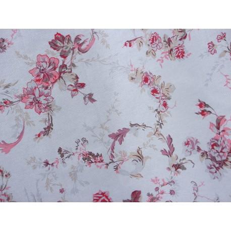 Tissu neuf à la coupe | Panama Coton | Fleurs romantiques rose rouge violine Fond gris | Largeur 140 cm