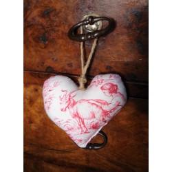 Coeur à suspendre | Rare Toile de Jouy ancienne rose | Scènes bucoliques | Création charme