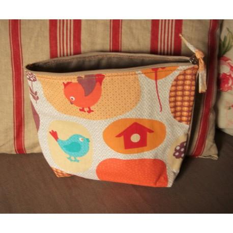 Trousse   Oiseaux Vintage orange + Coton beige à Pois   fermeture éclair   Création Enfance