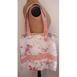 Cabas | Coton neuf Rayures rouges + Fleurs Shabby gris rose + Pois | Création Champêtre Chic