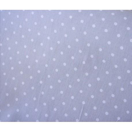 Tissu beige gris Pois blancs | Coton crétonne neuf Style charme Douceur | Rouleau 160 cm Au mètre