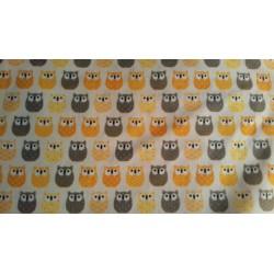 Tissu Hiboux Jaune Gris | Coton Crétonne neuf | Style Enfance Naissance | Rouleau L 160 cm Au mètre