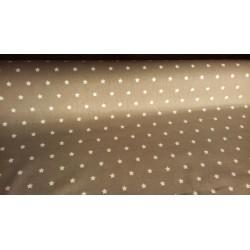 Tissu Etoiles Taupe blanc Coton crétonne neuf | Tendance Enfance Rouleau 160 cm à la coupe