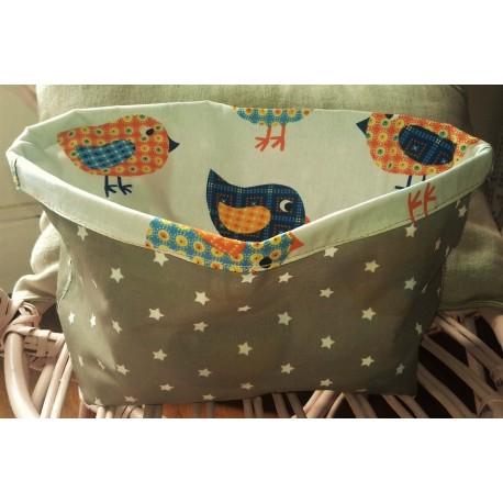 Pochon Sac de Rangement Etoiles Oiseaux Orange Bleu Taupe Blanc   Création enfance