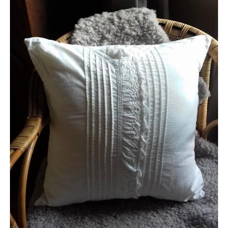 Coussin + Housse Chemise de Nuit Coton blanc ancie Dentelle Création Romantique chic