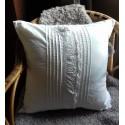 Coussin + Housse Chemise de Nuit Coton blanc ancien Dentelle Création Romantique chic