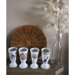 Lot 4 Mazagrans Vintage Porcelaine blanche estampille Oiseau Fleurs Dorure